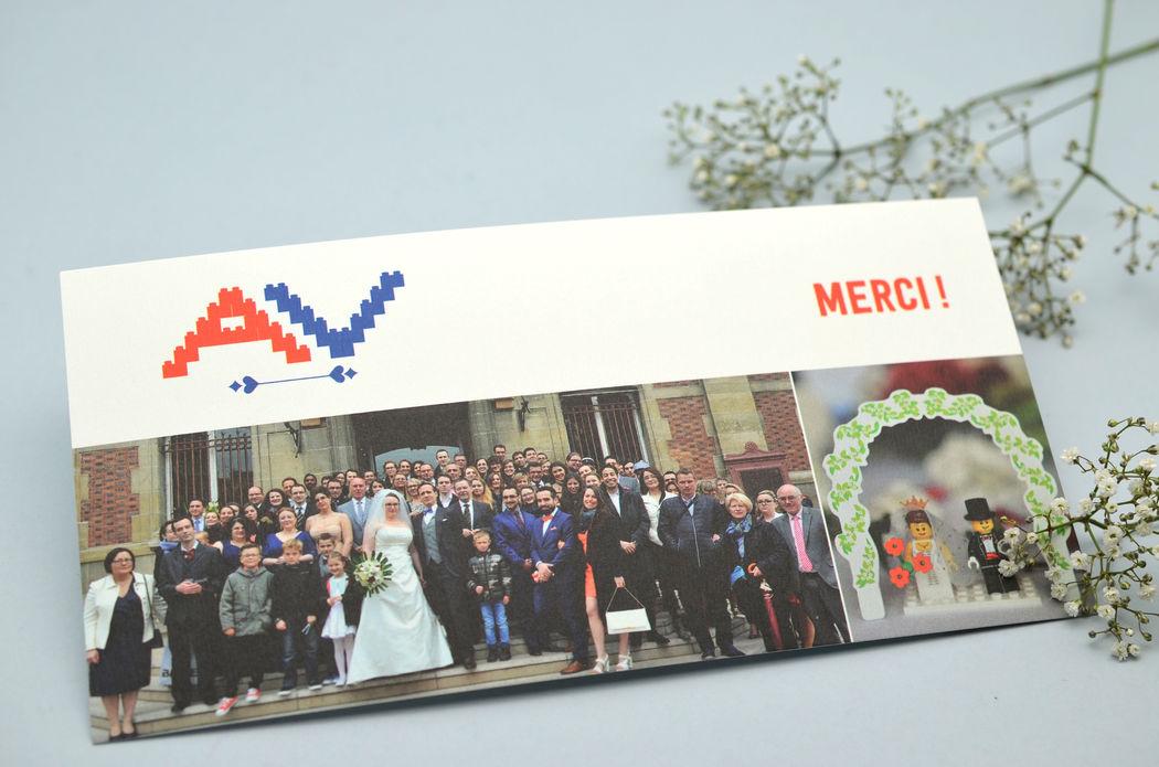Carte de Remerciements Mariage Lego Photo Jeux L'Atelier d'Elsa Le Véritable Faire-part Sur Mesure