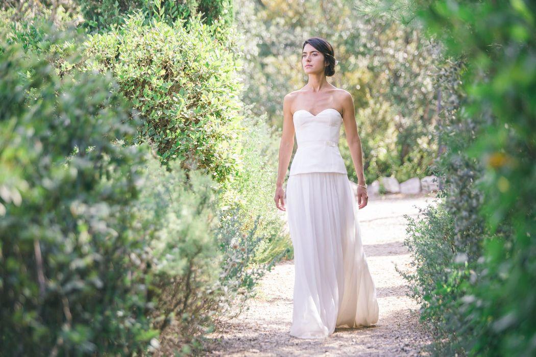 Robe de mariée en soie : Bustier sur jupe Estève