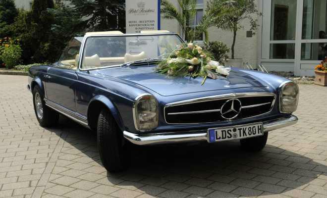 Beispiel: Hochzeitsauto, Foto: Hotel residenz am Motzener See.