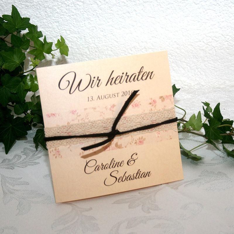 Cela-Design Hochzeitseinladungen im Vintagstil mit echter Spitze, Streurosen und Lederbändchen