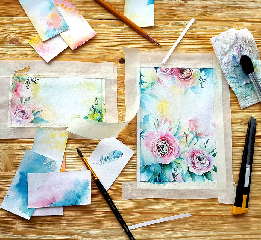 Процесс создания акварельных иллюстраций для полиграфии яркой и весенней свадьбы.