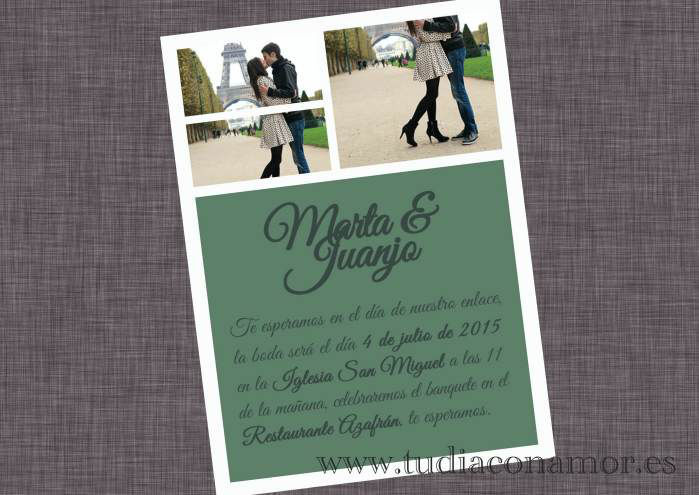 Postal fotográfica de boda