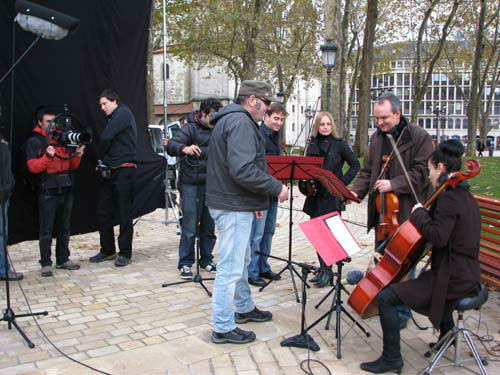 Preparativos del anuncio de las Navidades, grabado en El Arenal de Bilbao Bizkaia