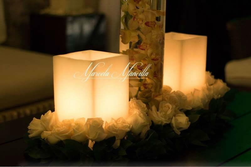 Velas y flores para bodas