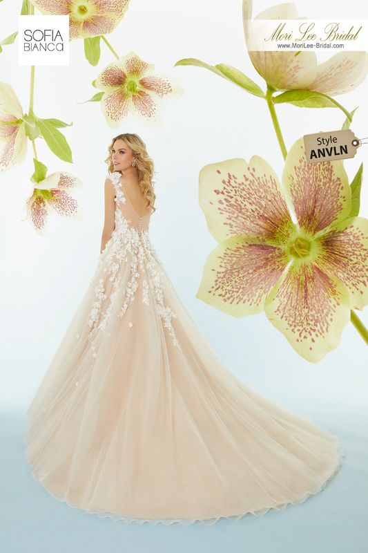 Style ANVLN Sonia  Crystal beaded, hand-cut, three dimensional floral embroidery on a tulle ball gown