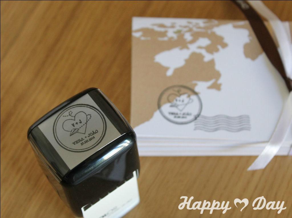 Convites de Casamento + carimbo personalizados Happy Day