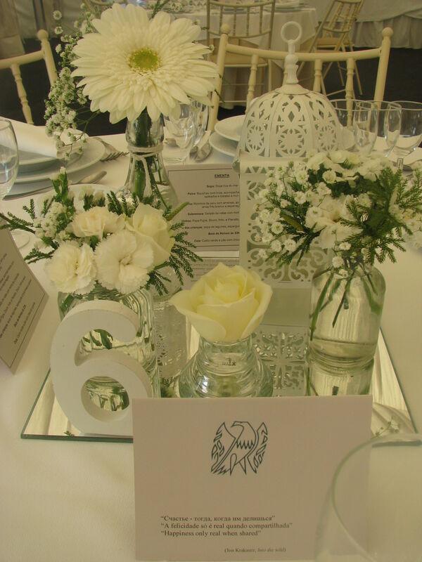 Centro mesa Branco e verde