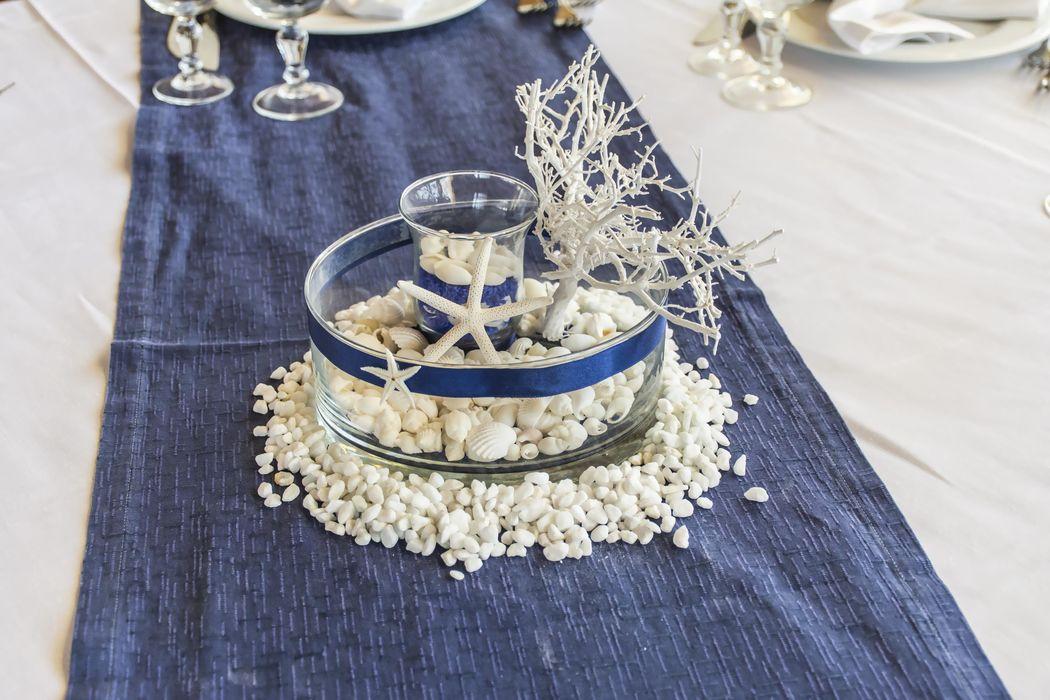 Centro tavola tema mare blu