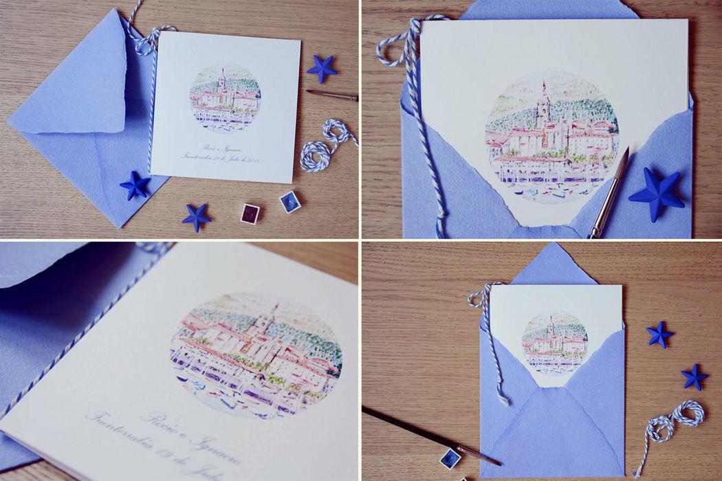 Invitación personalizada con motivo pintado en acuarela del pueblo donde se celebra la boda