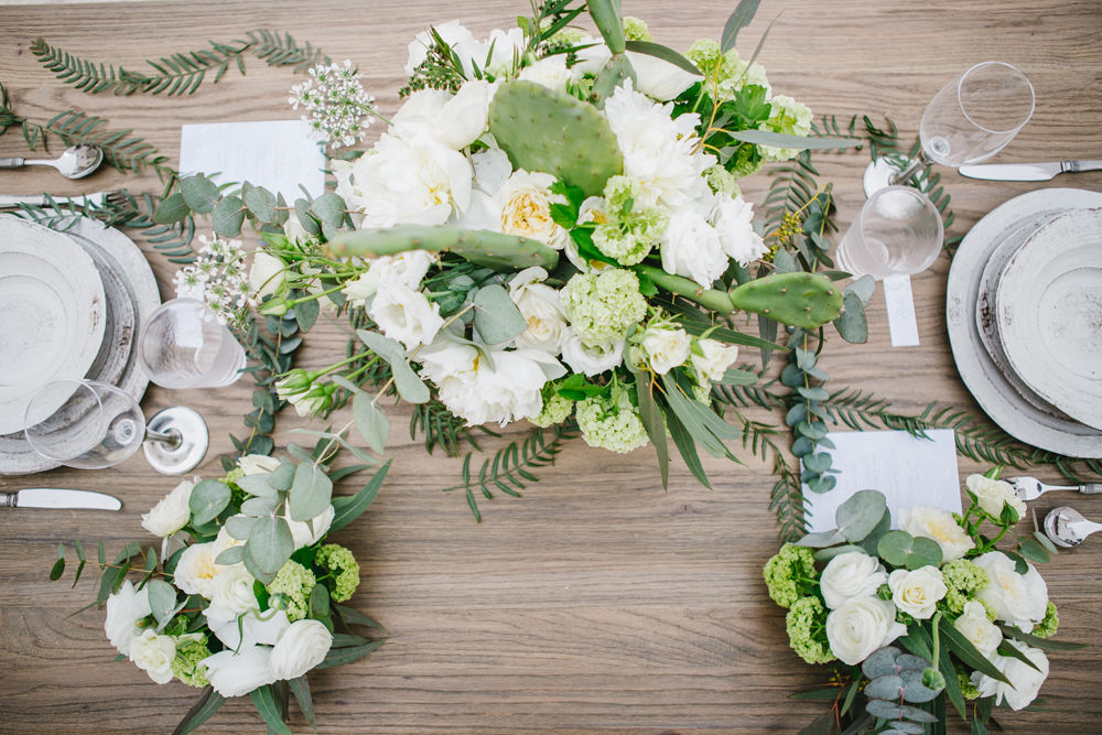 White and Green Italian Wedding