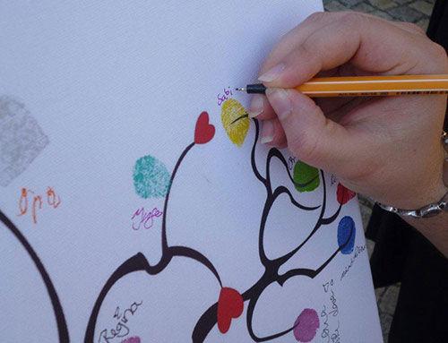 Beispiel: Hochzeitsspiel Fingerabdruck-Leinwand, Foto: Galleryy.
