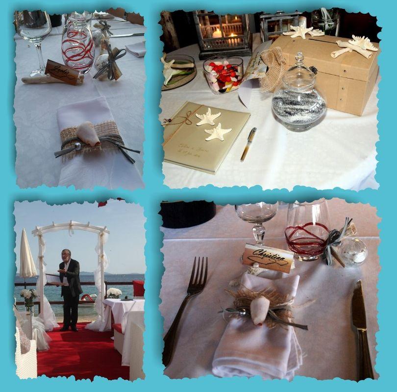 Thème de la mer, dans les tons naturels. toile de jutte, étoiles de mer, sable et coquillages... Création de la décoration. Cérémonie laïque et coordination du jour J