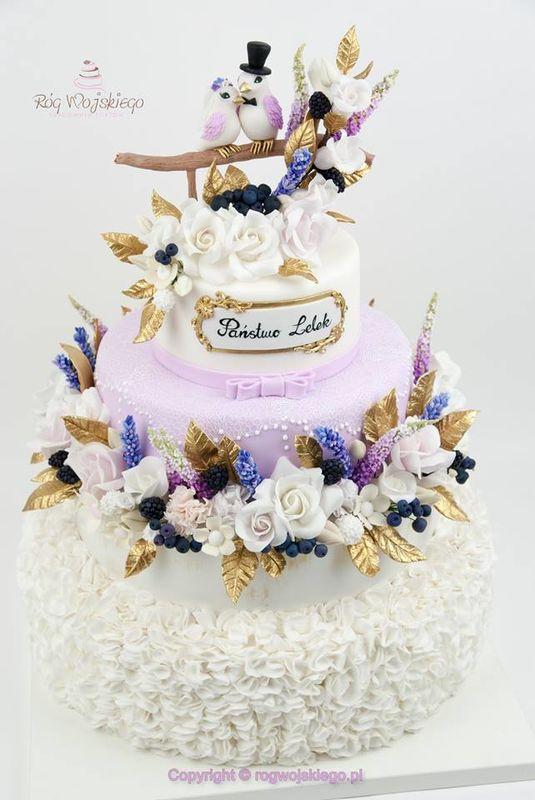 Tort weselny cukrowe kwiaty ptaszki