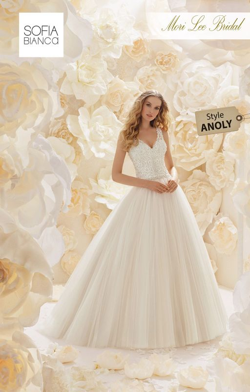 Style ANOLY A VINTAGE LACE EMBROIDERED BODICE WITH A UNIQUE ILLUSION BACK, CRYSTAL WAISTBAND AND SOFT TULLE SKIRT    COLOURS WHITE, IVORY, IVORY / CHAMPAGNE
