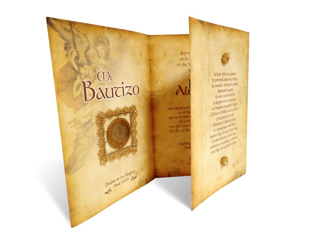 Detalle Interno  Invitación Bautizo Tema Arcángel Barroco