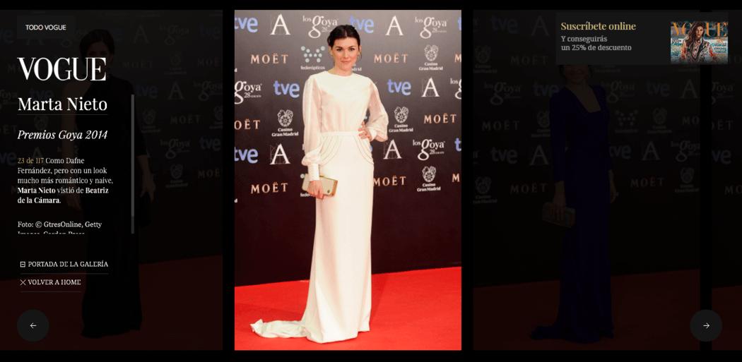PREMIOS GOYA. La actriz Marta Nieto seleccionada por diferentes medios como una de las mejor vestidas de la alfombra roja.
