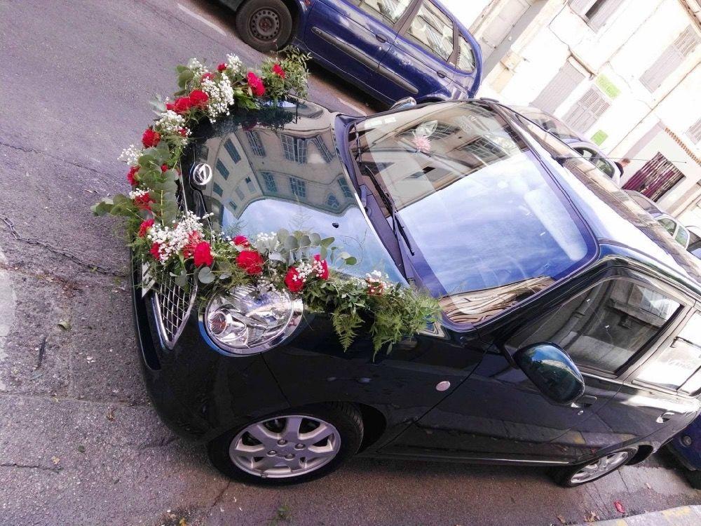 fleurs voiture