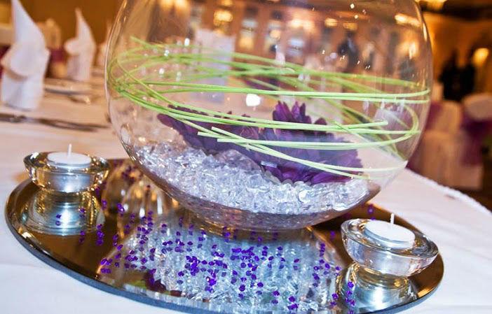 Fée de l'effet - Location Centre de table boule (aquarium) 25cm et miroir rond 42cm