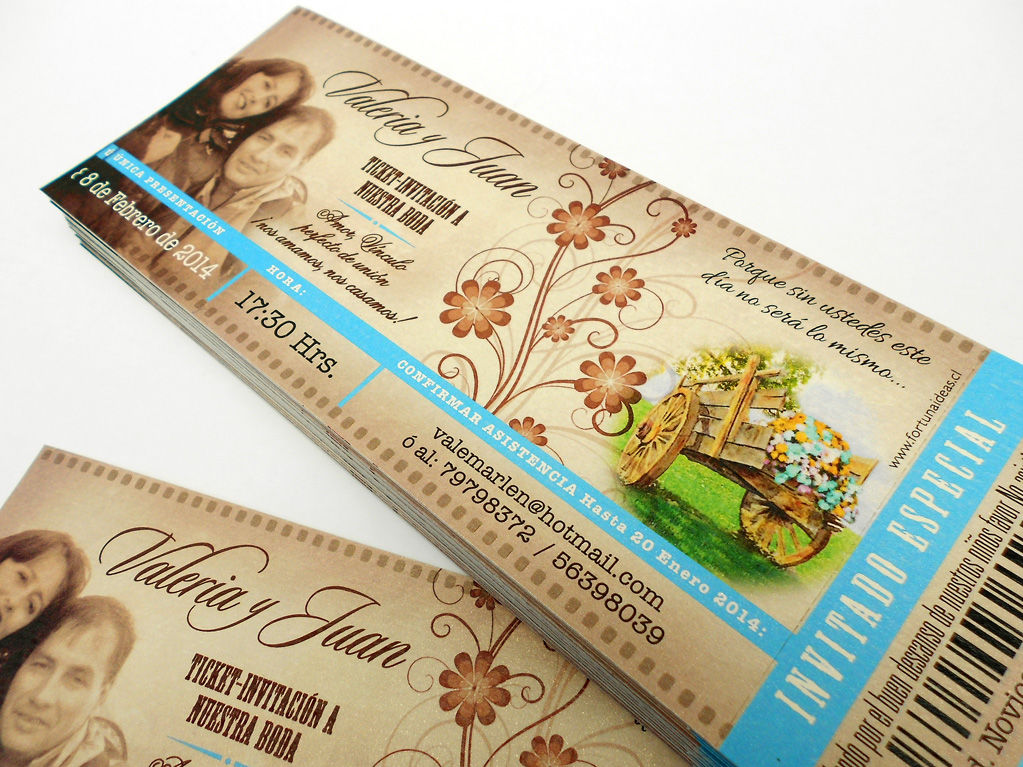 Ticket / Entrada cine, Incluye sobre con nombre de los novios impreso