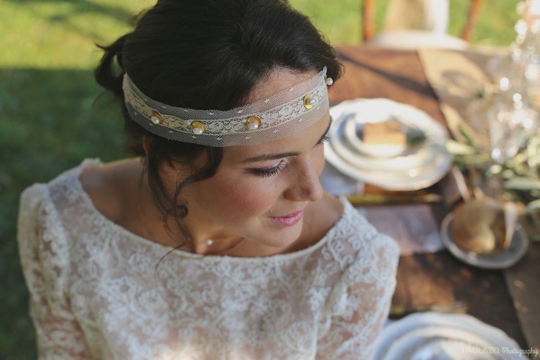 Headband dentelle fine de coton,  pampilles plaquées Or et perles d'eau douce
