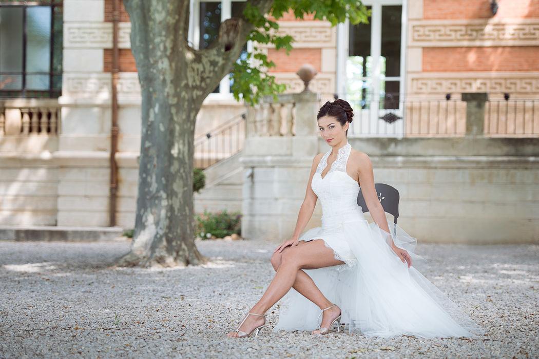 Collection Mariées de Provence 2018 - modèle ALLIANCE avec sur jupe courte
