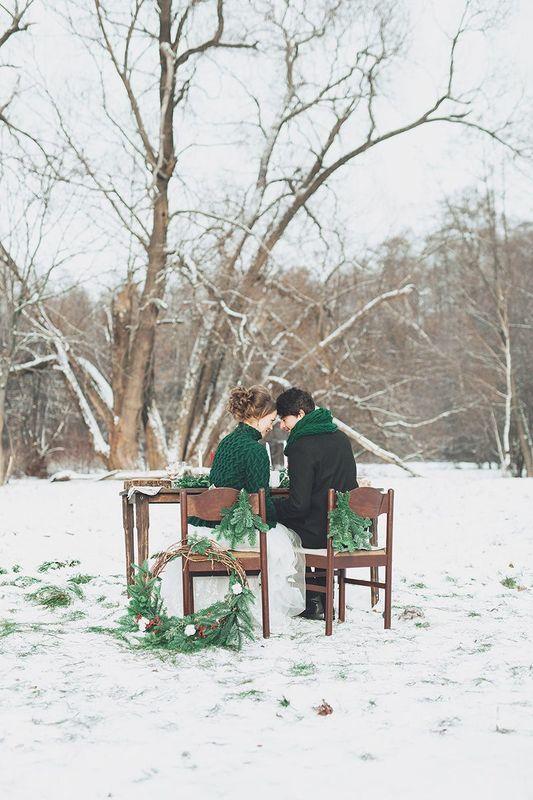 Зимняя свадьба Насти и Николая в стиле рустик