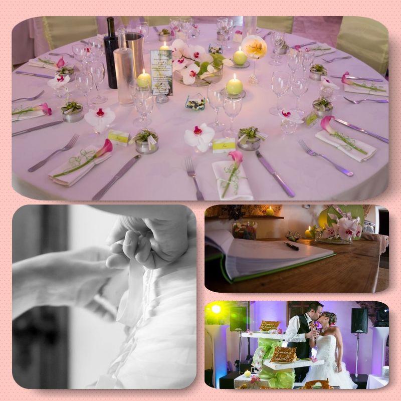 Décoration de table en rose pâle et vert anis. Coordination du jour J.