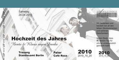 Beispiel: Einladung zur Hochzeit, Foto: Kartendesign-Berlin.