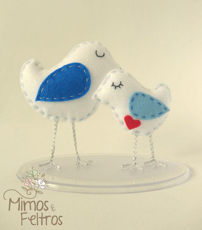 Love Birds Topo de Bolo (Azul)