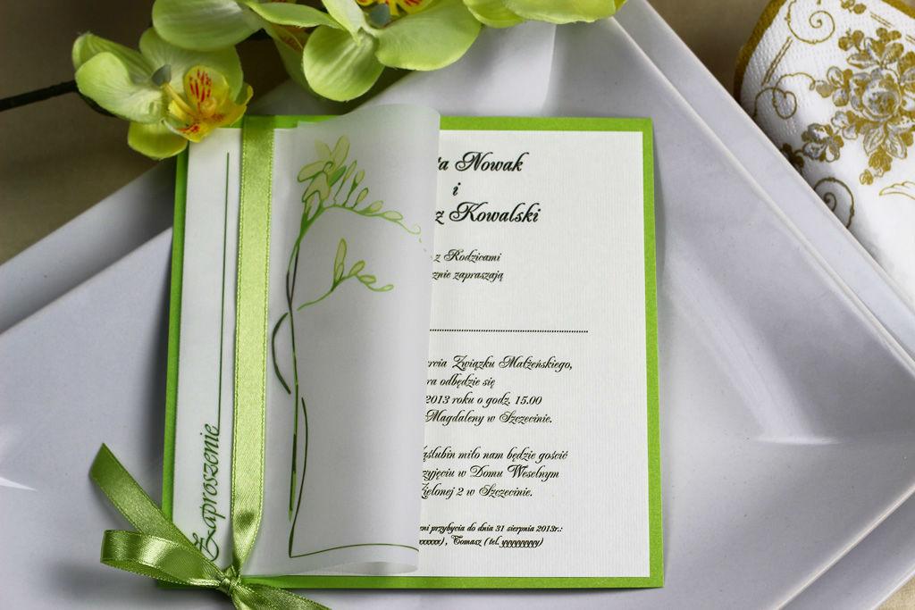 Zaproszenie ślubne z kalką - Frezja