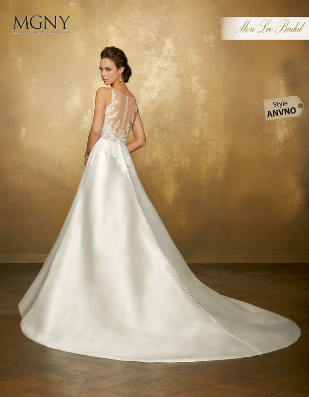 Style ANVNO Octavia  Diamanté beaded alençon lace appliqués on net bodice meets larissa satin skirt  Matching satin bodice lining included