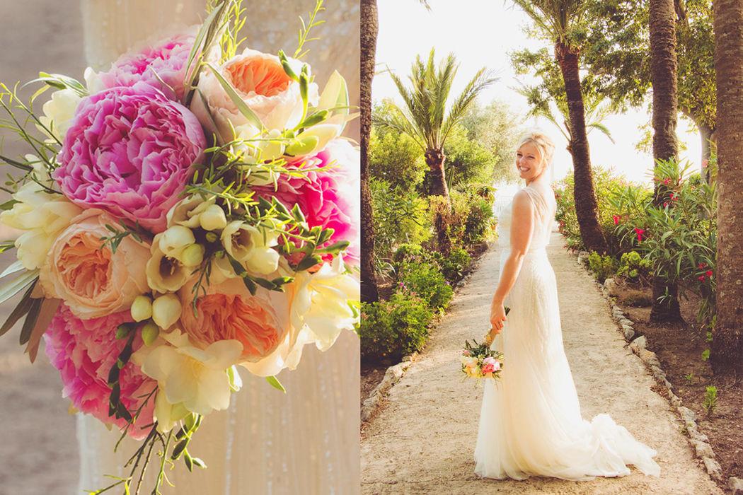 Vestido novia ramo vintage