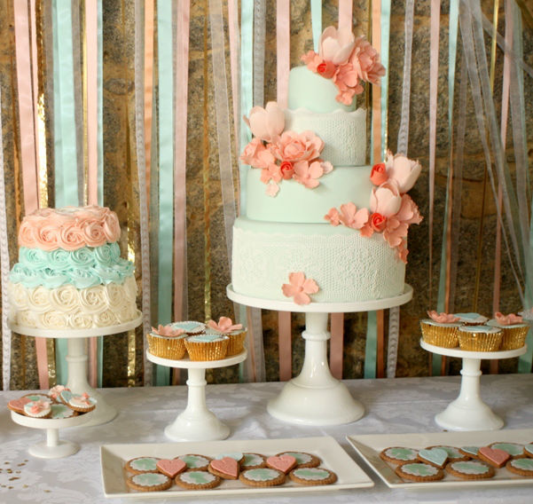mint and peach wedding cake