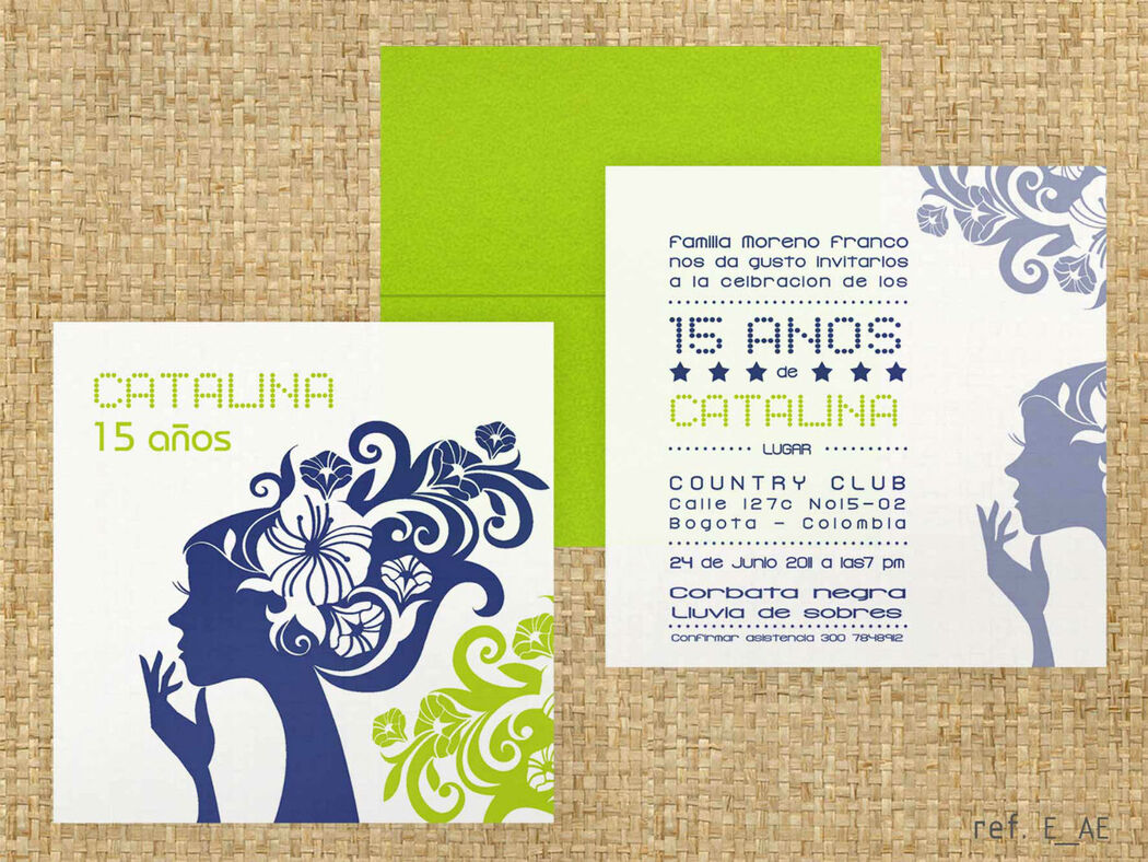 E_AE Tarjetas de invitación 15 años.  Sobres de colores alegres.