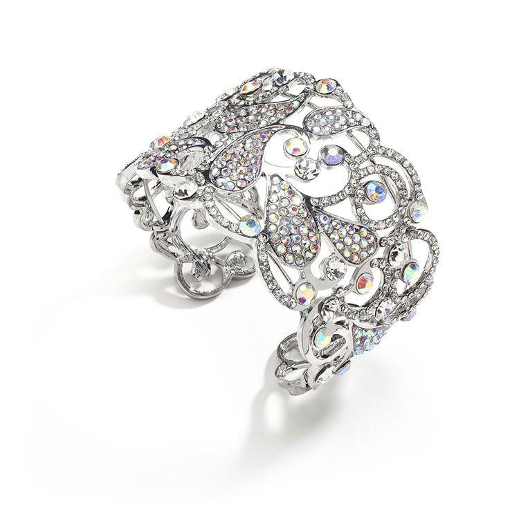 Bracelet mariage manchette cristal AB OUI