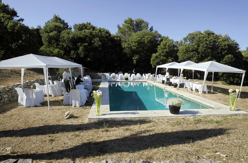 La piscine : lumière éclatante et ombre rafraichissante sous les Chênes vert.