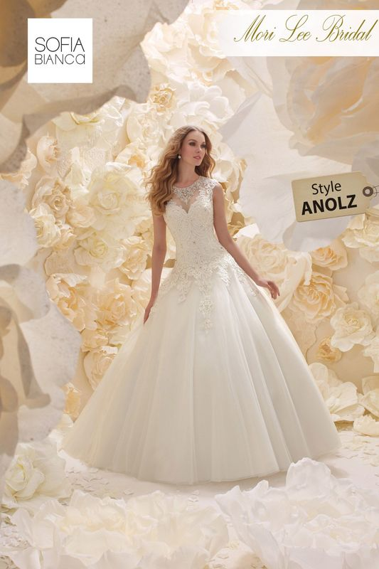 Style ANOLZ  TULLE BALL GOWN WITH LACE APPLIQUES, SLIM FIT BEADED BODICE AND STUNNING ILLUSION BACK   COLOURS WHITE / SILVER OR IVORY / SILVER