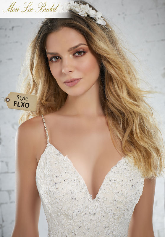 Style FLXO Kassidy Wedding Dress  Crystal Beaded Alençon Lace on Chantilly Lace with Beaded Straps. Available in Three Lengths: 55″, 58″, 61″ Removable Beaded Net Belt Also Sold Separately as Style 11284. Colors Available: White, Ivory, Ivory/Champagne