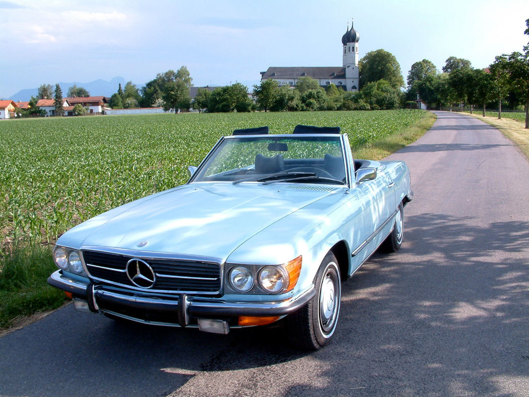 Ihr Hochzeitsauto zum Selberfahren: Mercedes Benz 450 SL  (W107) Foto: Classic Roadster München