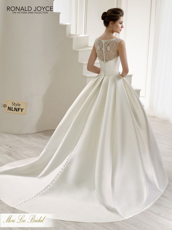 Style NLNFY LENA A MIKADO BALL GOWN WITH A BEADED TULLE ILLUSION NECKLINE/BACK, BUTTON BACK DETAIL AND A BEADED MOTIF ON THE WAISTBAND. PICTURED IN IVORY.  COLOURS WHITE, IVORY