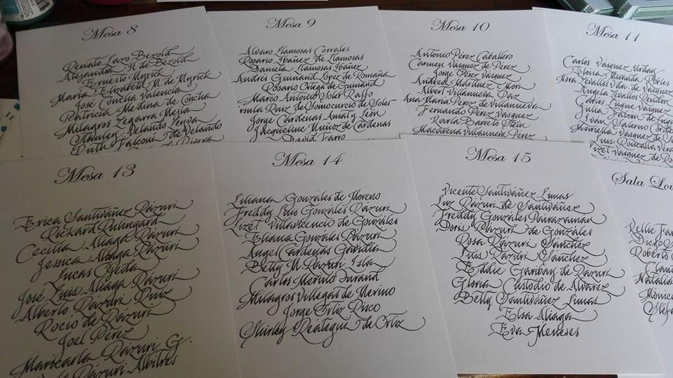 Carteles de mesa caligrafiados