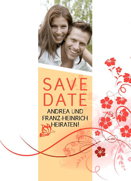 Beispiel: Save the Date Karte, Beispiel: Thomas Cards.