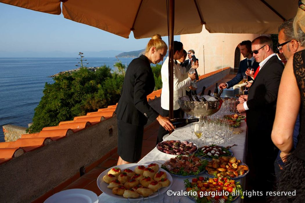 Aperitif on one of the Castle's terraces