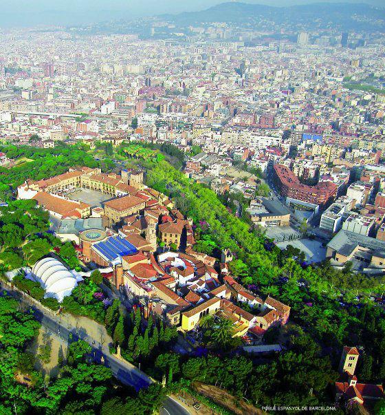 Vista aérea del Poble Espanyol de Barcelona