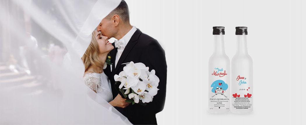 Piscos Personalizados para matrimonios