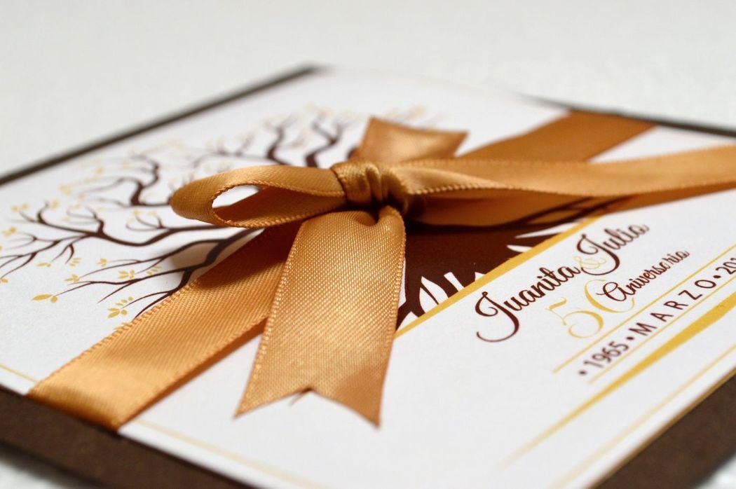 Invitación Aniversario Bodas de Oro Tema Raíces