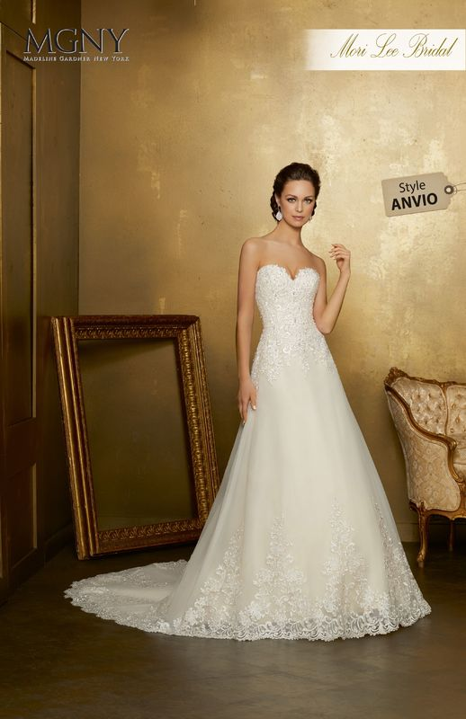 Style ANVIO Oana  Crystal beaded, embroidered appliqués on tulle with wide hemlace