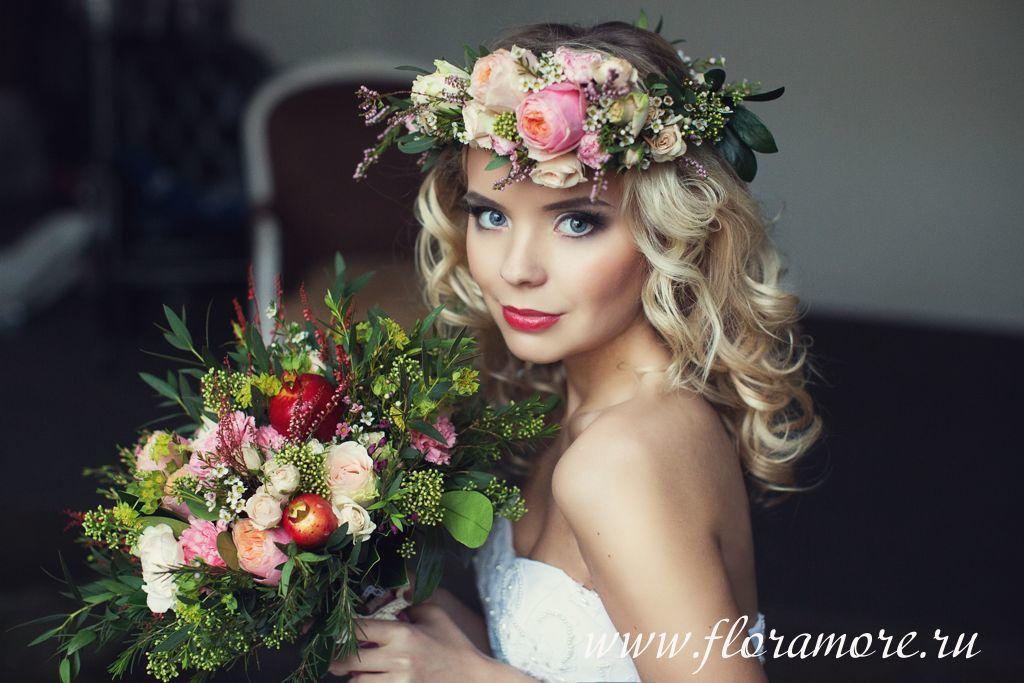 Букет невесты с пионовидными розами. Венок невесты.  Флорист Кристина Каберне ФОто Лена Кожина