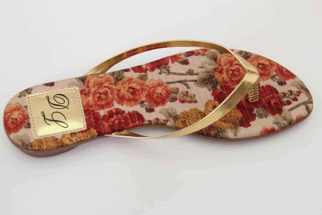 Slim Fashion Palmilha Floral com Dourado