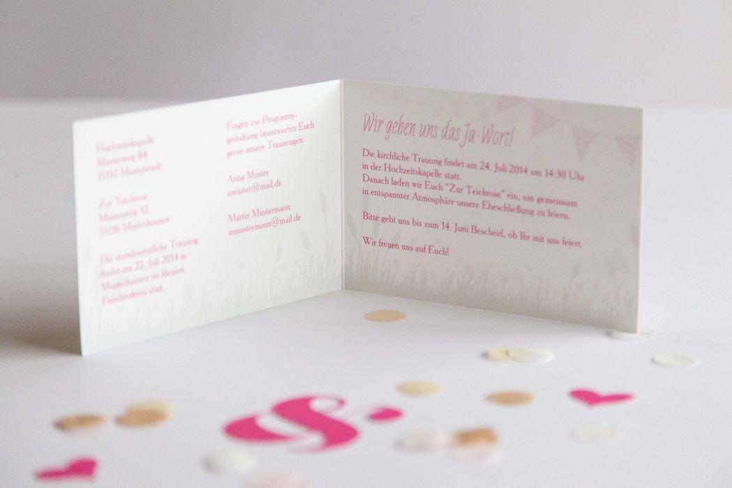 Beispiel: Hochzeitseinladung Thema Usedom geöffnet, Foto: familiensache.